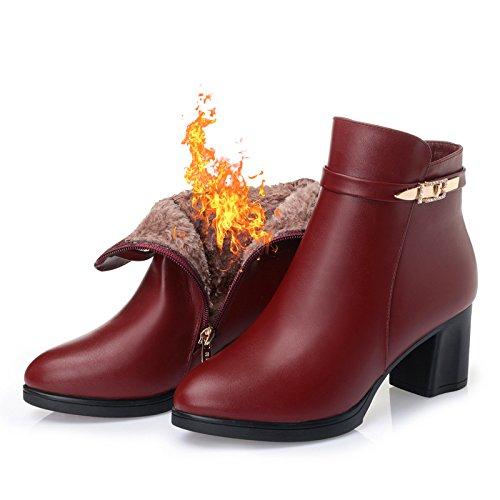 Calido Terciopelo Botas gules KHSKX Rodajas Gruesas Zapatos Y Con Con Otoño Botas Mediana Zapatos En Invierno Mamá E De Viejos Edad 6rYwYvPRq