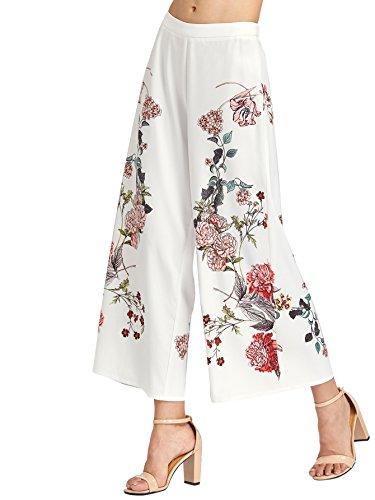 SweatyRocks Women's Boho Floral Print Wide Leg Pants Casual Loose Palazzo Capris White M