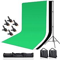 Hemmotop 撮影スタンド 写真背景用 200x300cm 背景スタンド 3m 撮影サンドバッグ2個と背景布クリ...