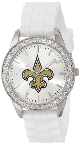 Game Time Women's Frost NFL Series' Quartz Metal and Silicone Casual Watch, Color:White (Model FRO-NO) -