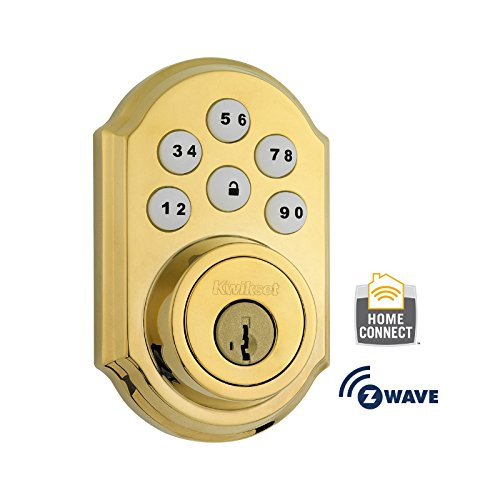 Kwikset 910 Z-Wave SmartCode Electronic Touchpad Deadbolt, Works with Amazon Alexa via SmartThings, Wink, or Iris featuring SmartKey in Polished Brass by Kwikset