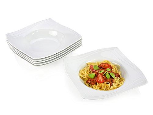 Sänger Pastateller Set 'Quadrat Swing' aus Porzellan | 6 teiliges Set | Servieren Sie Ihre Pasta stilvoll mit italienischem Flair