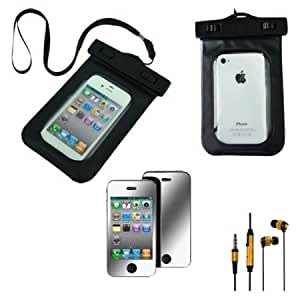 Cerhinu Premium Skque Mirror Screen Protector + Black Water Proof Pouch Case Bag + Universal 3.5mm In Ear Stereo Earbud...
