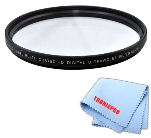 Price comparison product image Tronixpro 86mm High Resolution Ultraviolet UV Protection Filter for Sigma 150-500mm f / 5-6.3 DG OS HSM APO Autofocus Lens,  Sigma 180mm f / 2.8 APO Macro EX DG OS HSM Lens,  Tamron 200-500mm + Micro Cloth