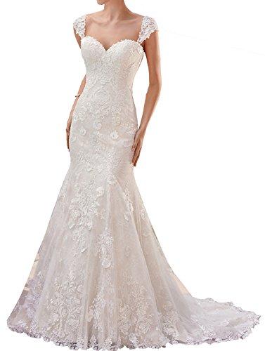 Brautkleider Damen Changjie Meerjungfrau Weiß Hochzeitskleider 2018 wxFnq4pB7