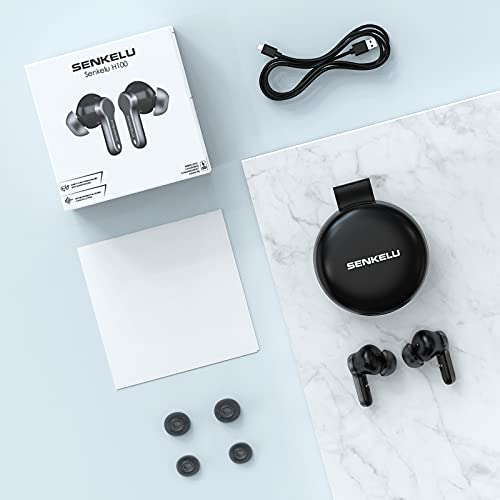 True Wireless Earbuds,Bluetooth Earbuds in-Ear Headphones with Wireless Charging Case Dual Noise-Cancelling Microphones Waterproof Deep Bass for Sports Games Calls Touch Control