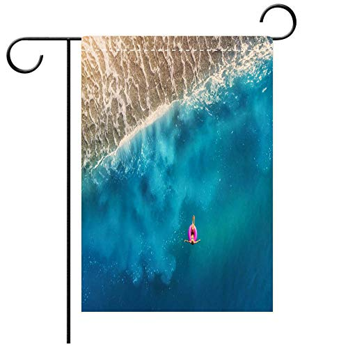 - BEICICI Double Sided Premium Garden Flag Aerial View of Young Woman Swimming on The Pink Swim Ring in The Transparent Turquoise sea in OludenizTurkey Summer Best for Party Yard and Home Outdoor Decor