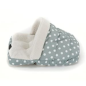 Nicole Miller Comfy Kitty Slipper Pet Bed, 17x22 Oval, Teal Polkadot