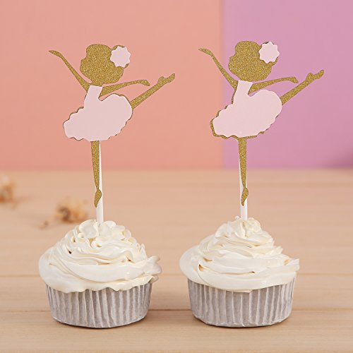 24 CT Gold and Pink Ballerina Cupcake Toppers - by Giuffi (Ballerina Shower Baby)