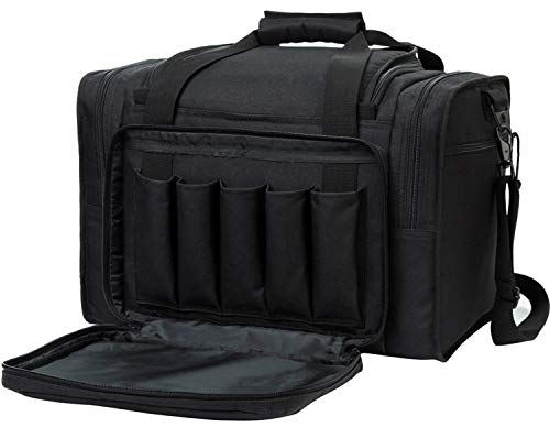SUNLAND Pistol Range Bag Tactical Shooting Gun Range Bag with Penty of Room for Handguns Lightweight and Durable (Black)