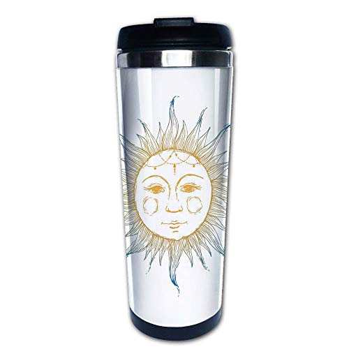 Stainless Steel Insulated Coffee Travel Mug,Symbol with Face Tribal Aztec Inspired Illustration,Spill Proof Flip Lid Insulated Coffee cup Keeps Hot or Cold 13.6oz(400 ml) Customizable printing