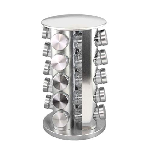 (Ick Home Modern Stainless Steel Round Revolving Kitchen Spice Tower Rack w/Glass Jars)