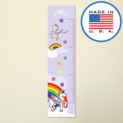 (321Done Growth Chart for Wall, Pink Unicorn Princess Rainbow, Baby Girl Height Ruler, Premium Kids Girls Nursery Wall Decor, Made in USA)