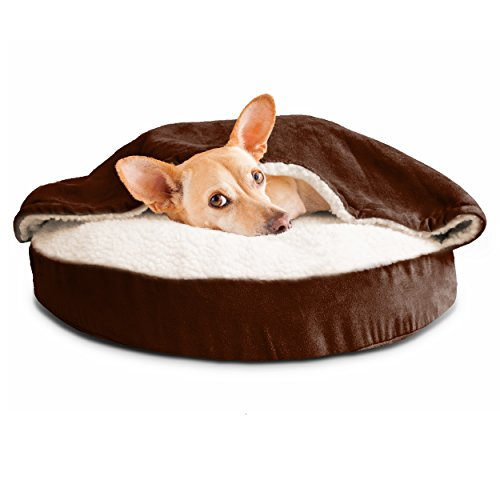 FurHaven Round Faux Sheepskin Orthopedic Snuggery Burrow Pet Bed, Espresso, 26