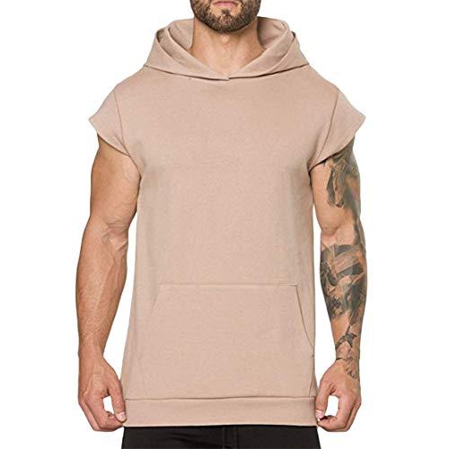 Mikey Store Men's Summer Casual Hooded Pocket Short Sleeve Sport T-Shirt