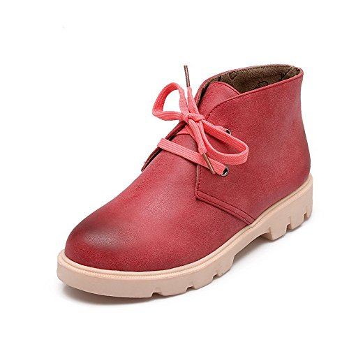 Allhqfashion Women's Lace-up Round Closed Toe Low-Heels PU Ankle-high Boots Red eNXw10qgOj