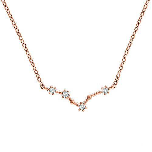 (PAVOI 14K Rose Gold Plated Astrology Constellation Horoscope Zodiac Necklace 16-18