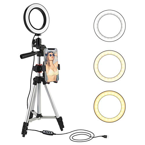 5.7 Ring Light with Tripod Stand and Cell Phone Holder, Mini LED Camera Light Selfie Ring Light Table Lamp for Live Stream, YouTube Video, Makeup, Photography Lighting Compatible with iPhone Android