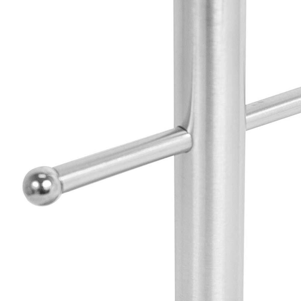 Flykee 6 Hooks Freestanding Stainless Steel Hanging Mug Cup Holder Silver Hanging Mug Holder