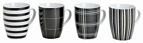 Tassen 4 Stück, 10cm, Ø8cm, 300ml, 4er Set   Kaffeetassen in schwarz/weiß gestreift und kariert   Kaffeebecher, 4-teilig