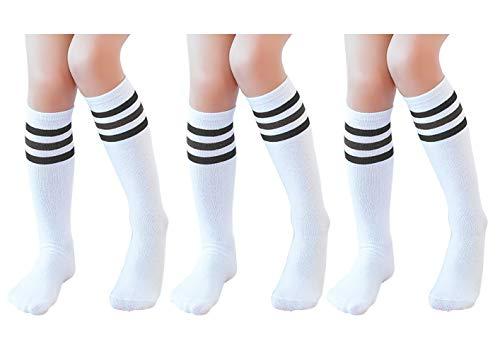 Knee High Tube Socks for Boys, Girls, Baby, Toddler & Child 3 Pairs(Black Strips,16.5in/42cm(8-12Years))