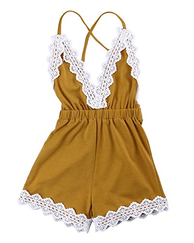 MA&BABY Baby Girls Halter One-Pieces Romper Jumpsuit Sunsuit Outfit Clothes 0-24M (12-18 Months, Yellow)