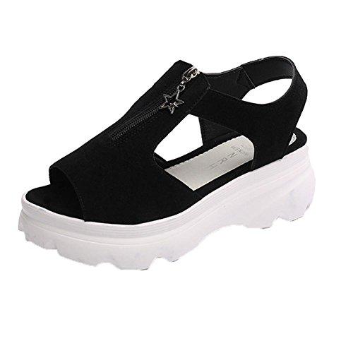vovotrade Tela de algodón los 5.5cm Zapatos de las sandalias de las cuñas de la plataforma de la boca de los pescados de la mujer de la cremallera de la correa del tobillo negro
