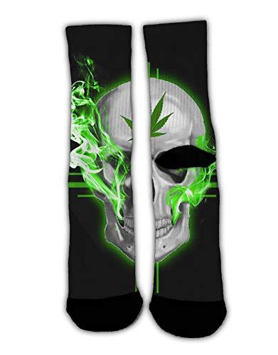 (RWFANCY Adult Casual Cotton Socks Marijuana Weed Cannabis Skull Colorful Fancy Design Christmas Socks Cozy Warm Winter Socks 1 Pack)