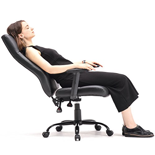 GTP Office Chair High Back Executive Chair Ergonomic Design Chair PU Leather Chair Manager Chair Black