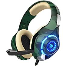 Gaming Headset for PC PS4, Beexcellent Stereo Surround Sound Gaming Headphones with Noise Cancelling Microphone Volume Control LED Lights for Xbox One Laptops Mac Smartphone