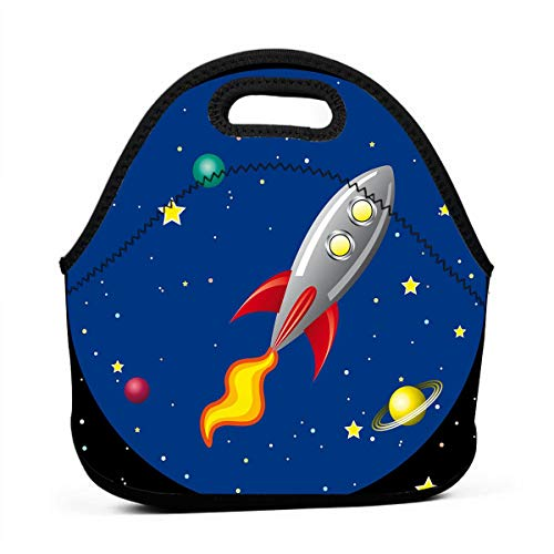 (DJUQBWKP Rocket in The Space Portable Lunch Bags,Reusable Picnic Bag -for Adults, Women, Girls, School Children - Suitable for Travel, Picnic, Office (Small))