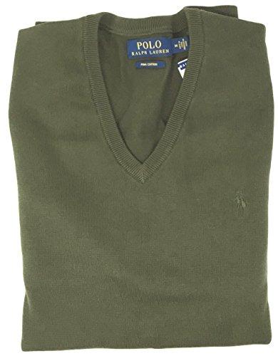 Polo Ralph Lauren Mens Pima Cotton V-Neck Sweater (Green , L)