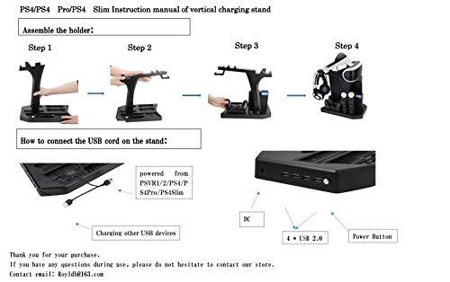 KJH PSVR Multifunction Vertical Stand For PS4,Slim,Pro,PSVR,PSVR2 - Charge, Cool, Showcase, Cooler, Headset Storage… 7