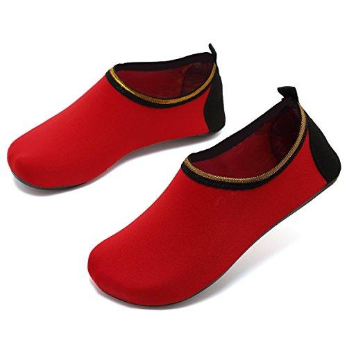 VIFUUR Wassersport Schuhe Barfuß Quick-Dry Aqua Yoga Socken Slip-On für Männer Frauen Kinder Soidred