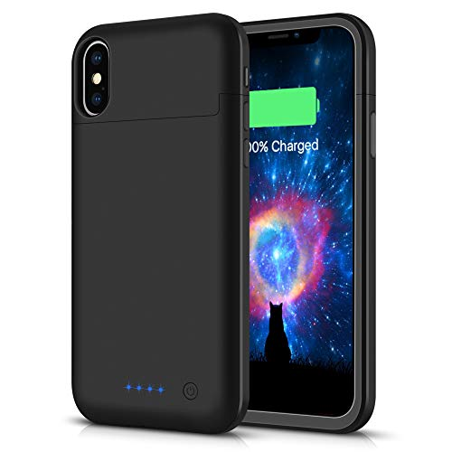 Battery Case for iPhone X/XS/10,5200mAh Rechargeable Portable Charger Case Extended Battery Pack for iPhone X/XS/10 (5.8inch)Protective Power Charging Case-Black