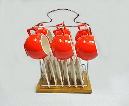 (Uniware Set of 6 Porcelain Espresso Cups Set With Saucers (Red) & Metal Holder & Bamboo Base))