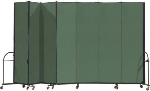 13 Panel Room Dividers - Screenflex Heavy Duty Portable Room Divider (HFSL747-DN) 7 Feet 4 Inches High by 13 Feet 1 Inches Long, Designer Mallard Fabric