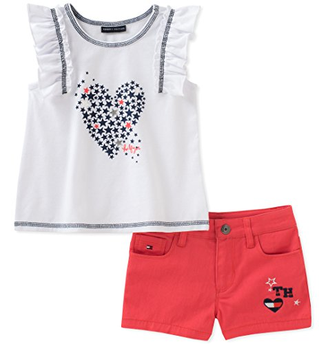Tommy Hilfiger Toddler Girls' Denim Shorts Set, White/Red, 4T