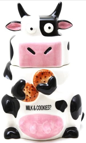 Ceramic Cow Cookie Jar Black / White, 10 inches H ()