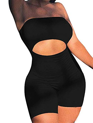 - LCNBA Women's Sexy Bodycon Strapless Romper Jumpsuit Catsuit Shorts Club Party Oufit Black