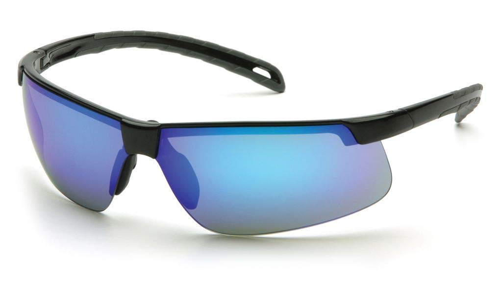(12 Pair) Pyramex Ever-Lite Glasses Black Frame/Ice Blue Mirror Lens (SB8665D) 41IPbYy4A9L