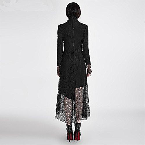 Gothic Kragen Stand Gr Mesh Punk Kleid Asymmetrische Langarm 6 en Frauen Kleid Stitching wnxgqAO0xX