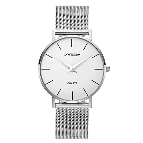 (SINOBI Ultra Thin Minimalist Stainless Steel Mesh Band Mens Watch Unisex Wrist Watch )