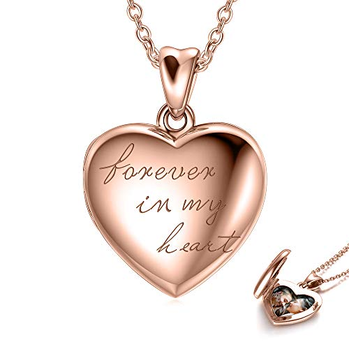 925 Sterling Silver Personalized Locket Necklace That Holds 2 Pictures Photo Heart Locket Necklace, Forever in My Picture Locket Necklace for Women Girls (Locket + Photo (Rose Gold)) ()