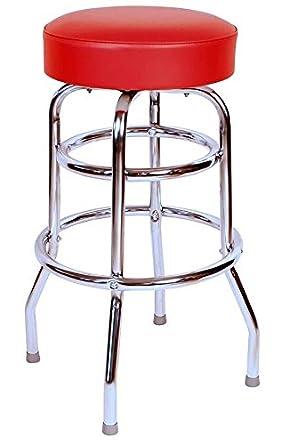 Merveilleux Commercial Grade Red Restaurant Swivel Bar Stool   Made In USA