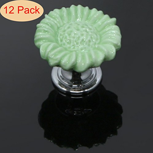 SunKni 12Pcs Flower Floral Knobs Ceramic Drawer Handles Pulls for Wardrobe Cupboard Dresser Cabinet Closet Kitchen Furniture with Free Screws New Sets Pack of 12 (37mm, Green) - Flower Cabinet Drawer Pull