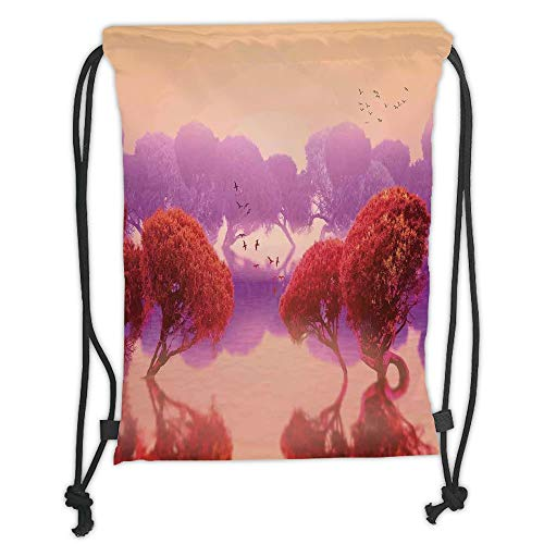 New Fashion Gym Drawstring Backpacks Bags,Magical,Peaceful Landscape with Asian Japanese Trees and Surreal Futuristic Nature Picture,Red Purple Soft Satin,Adjustable String Closur ()