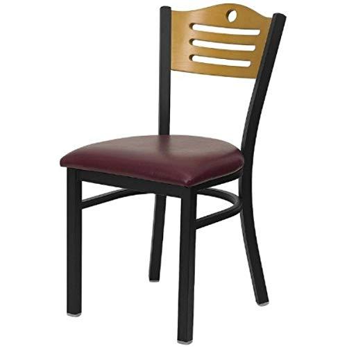 Modern Style Metal Dining Chairs Bar Restaurant Commercial Seats Natural Wood Slat Back Design Black Powder Coated Frame Home Office Furniture - Set of 2 Burgundy Vinyl Seat #2200