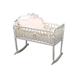 Baby Doll Bedding Pretty Pique Cradle Set, Ecru