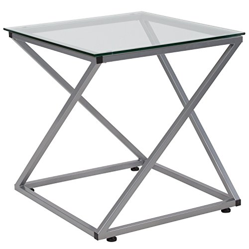 Flash Furniture Park Avenue Collection Glass End Table with Contemporary Steel Design, NAN-JH-1737-GG (Glass And Silver Tables End)